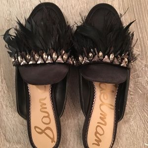 Sam Edelman Black Feather Party Slides